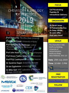 Chemistry & Biology of Peptides 2019 @ The Chancellor's Hall, Wulfruna Building, University of Wolverhampton